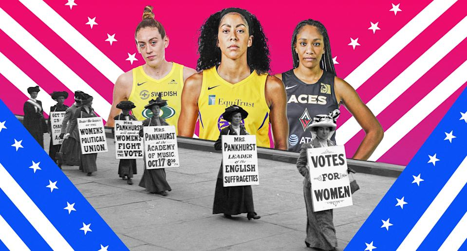 WNBA players and activists know there is still major work to be done 100 years after the 19th Amendment was ratified. (Albert Corona/Yahoo Sports)