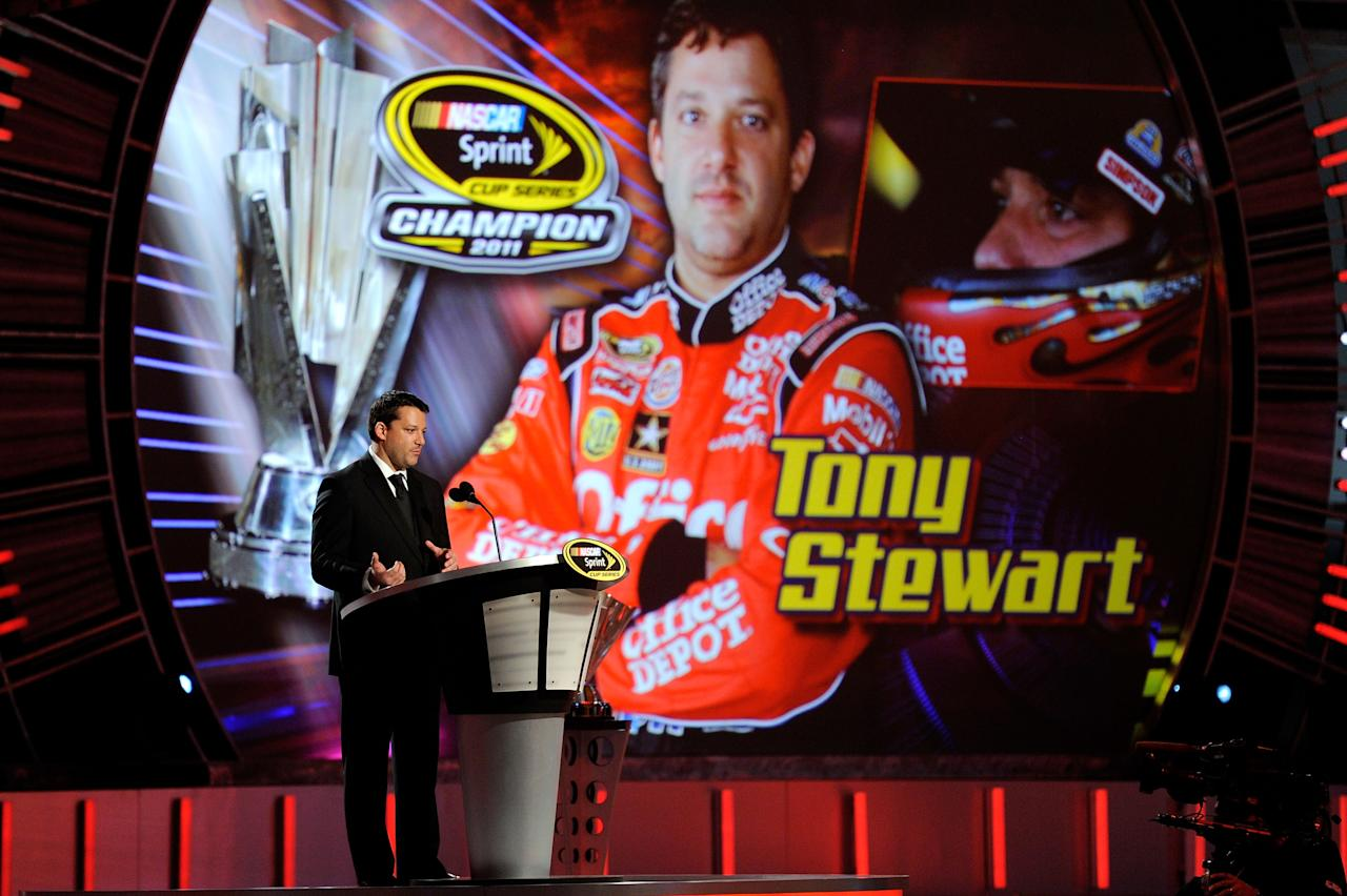 LAS VEGAS, NV - DECEMBER 02:  Series Champion Tony Stewart speaks during the NASCAR Sprint Cup Series Champion's Week Awards Ceremony at Wynn Las Vegas on December 2, 2011 in Las Vegas, Nevada.  (Photo by Ethan Miller/Getty Images)