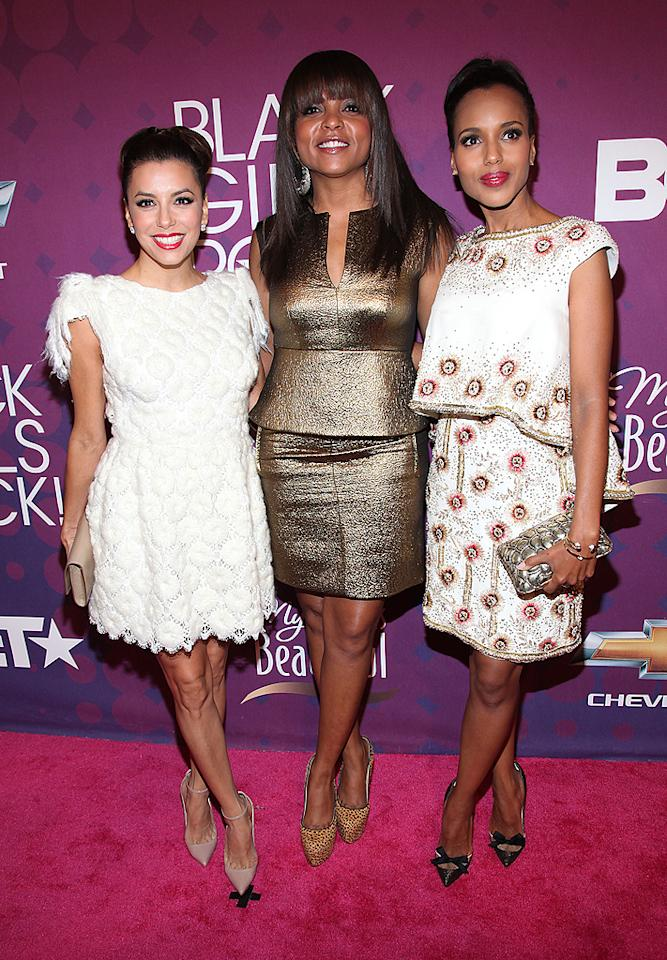 "Some of the other VIPs walking the red carpet included the trio of Eva Longoria, Taraji P. Henson, and Kerry Washington, who looked like they coordinated their white and gold outfits. ""What an amazing night I had so many beautiful/powerful women in one building,"" Star Power award Henson later tweeted. (10/13/2012)"