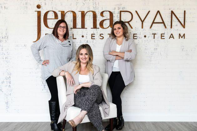 Jenna Ryan, centre, assistant Lise, left, and team member Sydney in Sudbury, Ont., have been trying to correct all the people who think she's the same Jenna Ryan who rioted in the U.S. Capitol on Jan. 6, 2021.