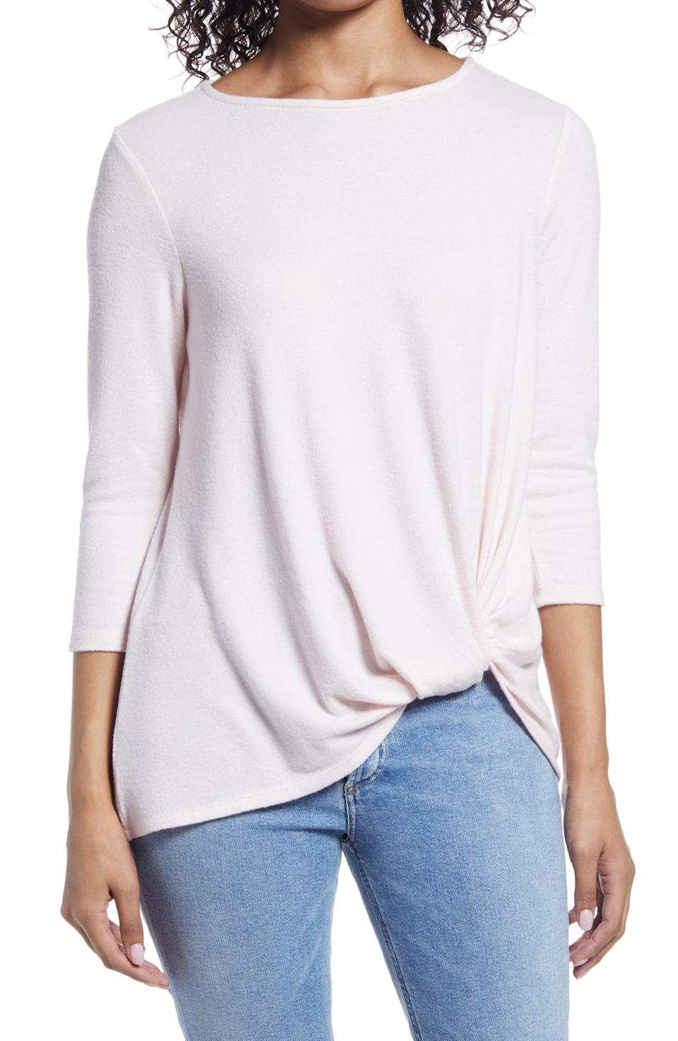 Gibson Cozy Twist Front Pullover. Image via Nordstrom.