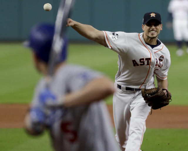 Charlie Morton stymied the Dodgers offense in Game 4 of the World Series. (AP Photo/Matt Slocum)
