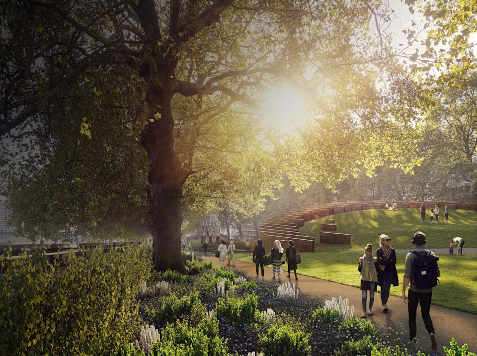 An artist's impression showing the entrance of the proposed Holocaust Memorial and Learning Centre in London (UK Holocaust Memorial/PA) (PA Media)