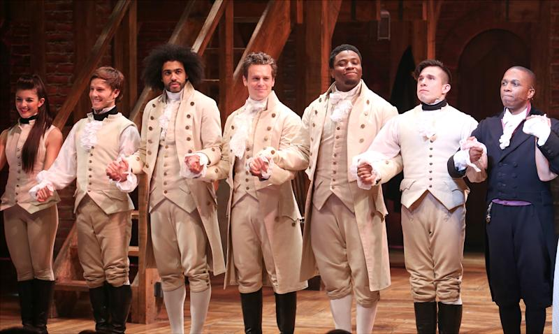 NEW YORK, NY - AUGUST 06: Thayne Jasperson, Daveed Diggs, Jonathan Groff, Okieriete Onaodowan, John Rua and Leslie Odom Jr. during the Broadway opening night performance of 'Hamilton' at the Richard Rodgers Theatre on August 6, 2015 in New York City. (Photo by Walter McBride/WireImage)