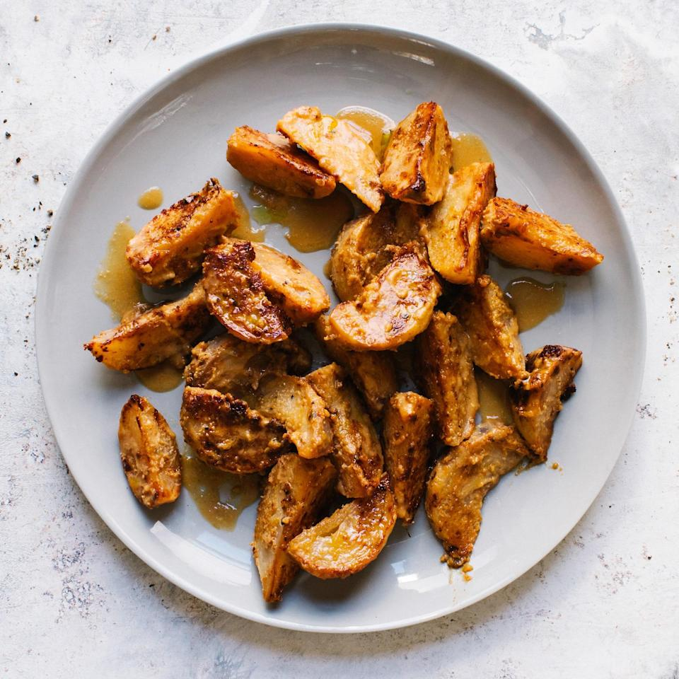"""Since turnips are a little sweet, amping up the savory factor with a bit of miso is a smart move indeed. <a href=""""https://www.epicurious.com/recipes/food/views/miso-glazed-turnips-51263450?mbid=synd_yahoo_rss"""" rel=""""nofollow noopener"""" target=""""_blank"""" data-ylk=""""slk:See recipe."""" class=""""link rapid-noclick-resp"""">See recipe.</a>"""