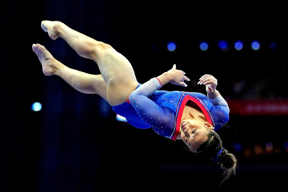 Sunisa Lee competes on the beam on June 25, 2021, during the U.S. Olympic Gymnastics Team Trials at The Dome at America's Center.