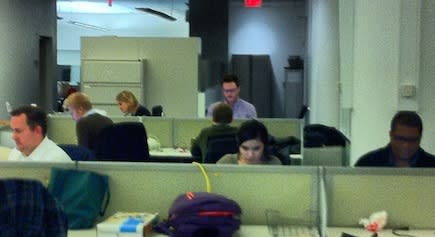 """<b class=""""credit"""">Robyn Tomlin/Digital First Media</b>The Thunderdome newsroom bunked in a corner of the Associated Press offices in midtown Manhattan to cover Election Night."""