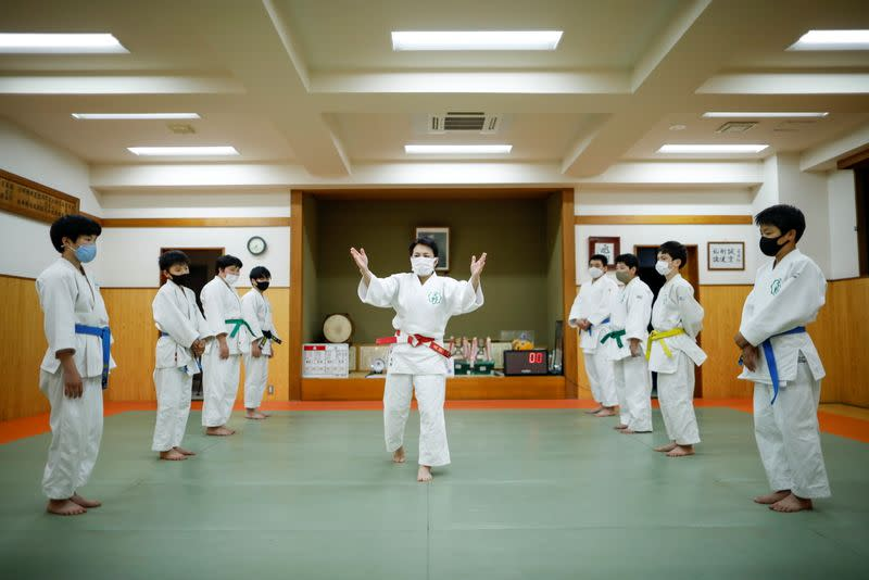 Akiko Amano teaches judo for her students in amid the coronavirus disease (COVID-19) outbreak in Tokyo