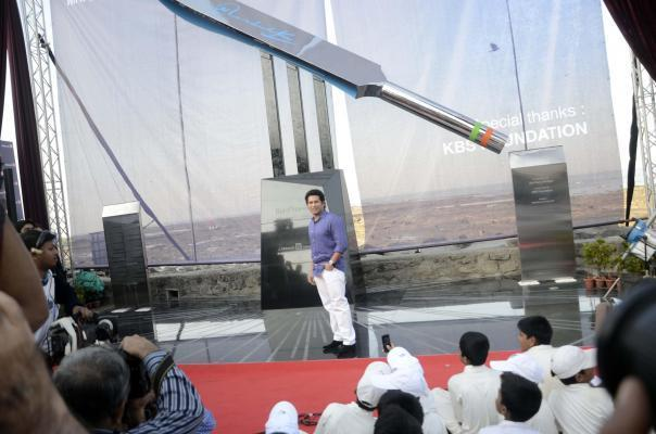 Cricket legend Sachin Tendulkar during a programme to unveil `Bat of Honour` a monument in the form of a large steel bat in Mumbai on Mar.2, 2014..`Bat of Honour`, installed on the Carter Road Promenade - close to Tendulkar's residence is the largest steel bat in the world - standing more than 25 feet high and weighing over two tonnes. Sachin's emotional farewell speech has also been etched on a plaque below the installation. The monument is tribute to the cricket legend by a media group. (Photo: Sandeep Mahankal/IANS)