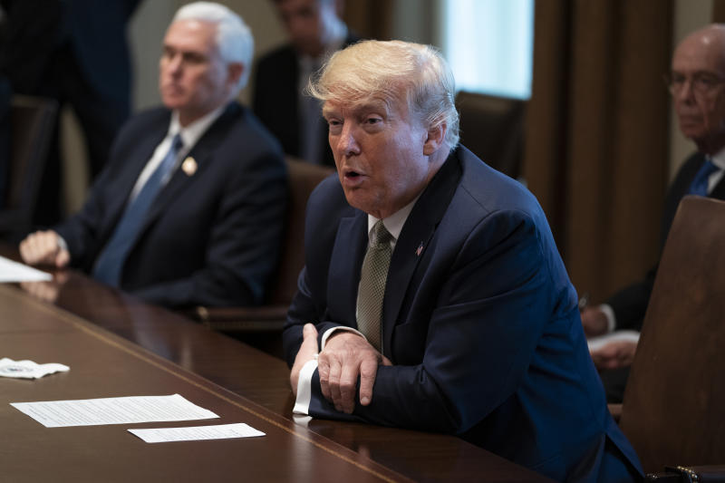 President Donald Trump speaks during a meeting with tourism industry executives about the coronavirus, in the Cabinet Room of the White House, Tuesday, March 17, 2020, in Washington. (AP Photo/Evan Vucci)