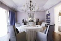 """<p>The ceiling is valuable real estate in any room. While often overlooked or relegated to standard shades of white, the so-called """"fifth wall"""" is an excellent opportunity to think outside the box and <a href=""""https://www.veranda.com/decorating-ideas/color-ideas/g1021/unexpected-color-in-veranda/"""" rel=""""nofollow noopener"""" target=""""_blank"""" data-ylk=""""slk:experiment with color"""" class=""""link rapid-noclick-resp"""">experiment with color</a>. <br><br>The transformative power of a painted ceiling manifests itself in many ways. While pale pastels up above can make a room feel brighter and more open, darker colors, like chocolate brown or aubergine, render an already cozy space all the more intimate and inviting. <a href=""""https://www.veranda.com/decorating-ideas/color-ideas/g33336391/accent-colors/"""" rel=""""nofollow noopener"""" target=""""_blank"""" data-ylk=""""slk:Accent colors"""" class=""""link rapid-noclick-resp"""">Accent colors</a> on the ceiling can accentuate architecture or, conversely, add interest to an otherwise lackluster space. Warm tones, like dusty peaches and pinks, create luminous and flattering glows, while shades of blue mimic the sky and help to bring the outdoors in. And don't forget about the impact of faux-painting and murals—these vast expanses of space are the perfect blank canvases for adding artistry to a room. </p><p>Whether you turn to a <a href=""""https://www.veranda.com/decorating-ideas/color-ideas/g29441004/pink-rooms/"""" rel=""""nofollow noopener"""" target=""""_blank"""" data-ylk=""""slk:swoon-worthy pale pink"""" class=""""link rapid-noclick-resp"""">swoon-worthy pale pink</a> lacquer or take a cue from nature and go bold with blues or greens, there's a ceiling paint color out there for any interior and aesthetic. Read on to discover some of our favorite ceiling-worthy hues and be inspired to think beyond white paint! </p>"""