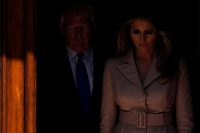 <p>President Donald Trump and first lady Melania Trump wait the arrival of French President Emmanuel Macron (unseen) before a lunch ahead of a NATO Summit in Brussels, Belgium, May 25, 2017. (Photo: Jonathan Ernst/Reuters) </p>