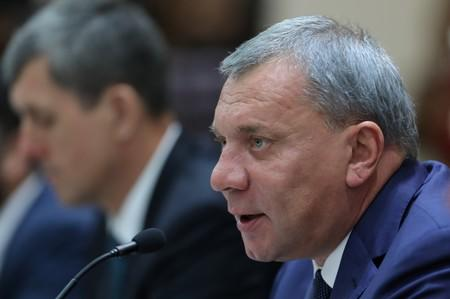 Russian Deputy Prime Minister Yury Borisov speaks during a meeting in Caracas
