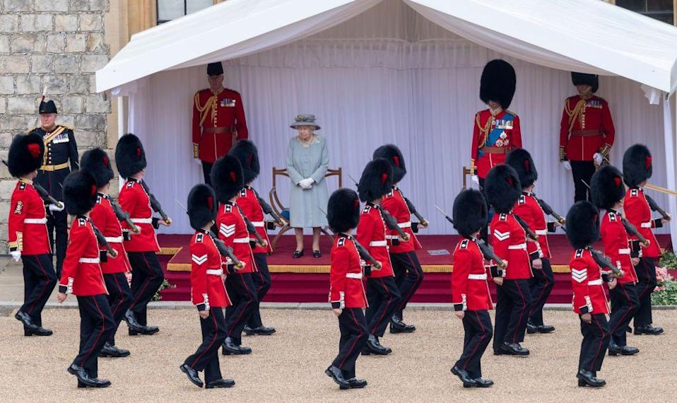 """<p class=""""body-dropcap"""">Despite looking a little different due to pandemic precautions, <a href=""""https://www.townandcountrymag.com/society/tradition/a10016954/trooping-the-colour-facts/"""" rel=""""nofollow noopener"""" target=""""_blank"""" data-ylk=""""slk:Trooping the Colour"""" class=""""link rapid-noclick-resp"""">Trooping the Colour</a> went on today in celebration of Queen Elizabeth II's 95th birthday. The event, which is typically one of the biggest on the royal family's calendar, was held in a smaller fashion (though no less festive) for the second year in a row. The military display, which took place at Windsor Castle this morning, highlighted soldiers who have played a key role in the NHS's COVID-19 response, as well as those who have been serving overseas. And, as royal reported Victoria Murphy <a href=""""https://www.townandcountrymag.com/society/tradition/a36704987/queen-elizabeth-trooping-the-colour-birthday-2021/"""" rel=""""nofollow noopener"""" target=""""_blank"""" data-ylk=""""slk:noted"""" class=""""link rapid-noclick-resp"""">noted</a> elsewhere on <em>T&C</em>, """"in a hopeful sign that things are beginning to return to normal, there was a larger military presence than last year.""""</p><p>Today's ceremony also marks the Queen's first Trooping the Colour since her husband, Prince Philip died. She was instead accompanied by her cousin, the Duke of Kent, who is Colonel of the Scots Guards.</p><p>Here, see all the best photos from the celebration. </p>"""