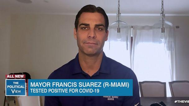 PHOTO: Miami Mayor Francis Suarez shares about his life in quarantine testing positive for COVID-19 via satellite on 'The View,' March 20, 2020. (ABC News)