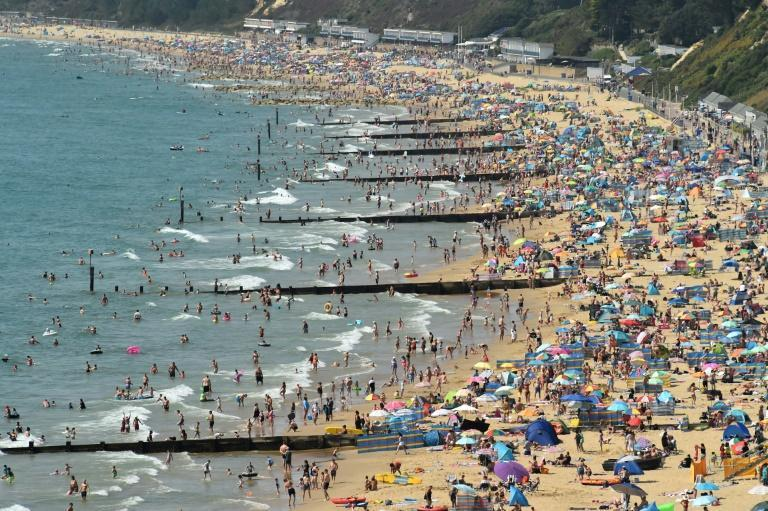 Virus concerns did not stop beach-goers flocking to Bournemouth amid the heatwave