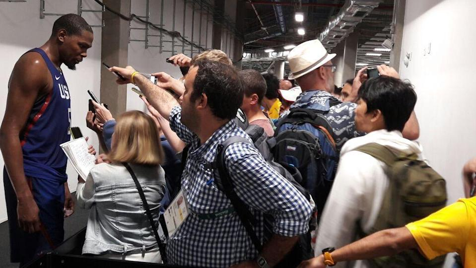 Kevin Durant faces the crowds in Rio. (courtesy Susan Polakoff)