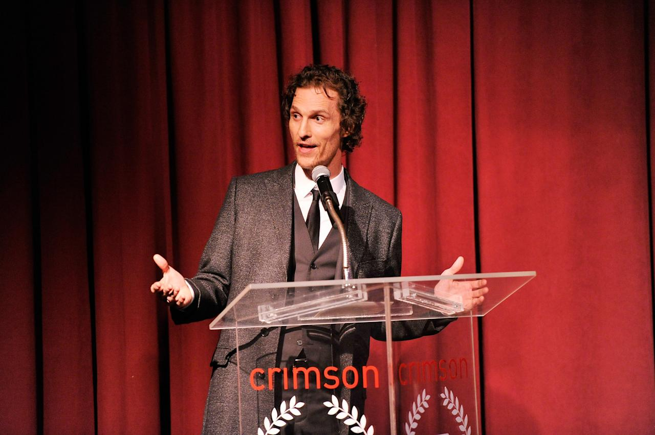NEW YORK, NY - JANUARY 07:  Actor Matthew McConaughey speaks onstage at the 2012 New York Film Critics Circle Awards at Crimson on January 7, 2013 in New York City.  (Photo by Stephen Lovekin/Getty Images)