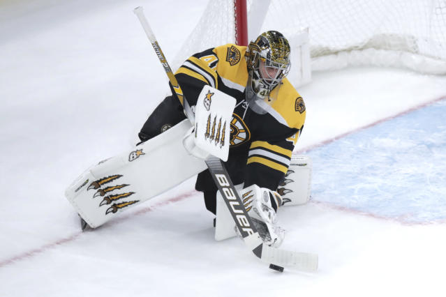 Boston Bruins goaltender Jaroslav Halak (41) makes a save during the first period of an NHL hockey game against the Vegas Golden Knights in Boston, Tuesday, Jan. 21, 2020. (AP Photo/Charles Krupa)