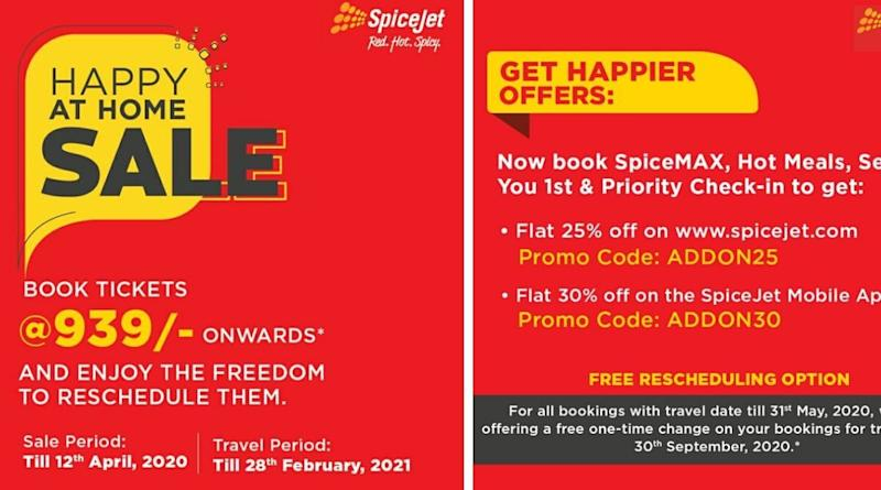 SpiceJet Launches 'Happy at Home' Sale, Offering Customers to Book Flight Tickets at Rs 939 & With Option to Reschedule