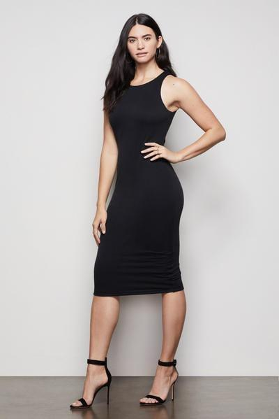 <p>I love this <span>Body Sculpted Midi Dress</span> ($99) because you can style it for any season.</p>
