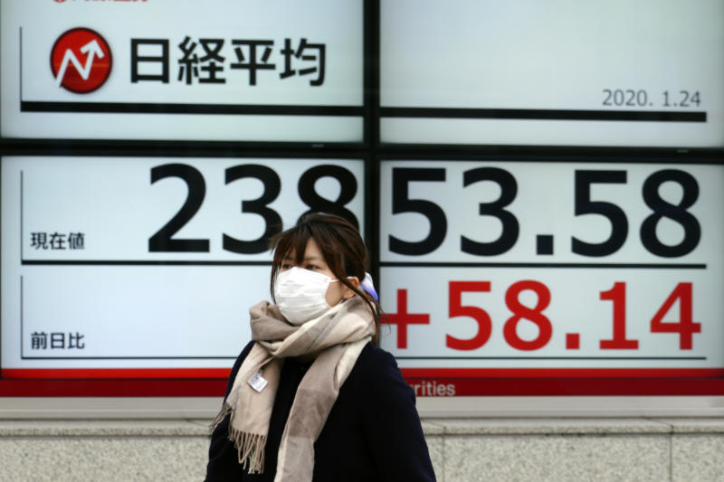 A woman walks past an electronic stock board showing Japan's Nikkei 225 index at a securities firm in Tokyo Friday, Jan. 24, 2020. Shares are mostly higher in quiet trading as China closes down for its week-long Lunar New Year festival. (AP Photo/Eugene Hoshiko)