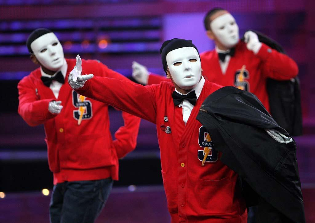"""With their frightening facemasks in place, the JabbaWockeeZ look far from """"P.Y.T.s,"""" but the synchronized sextet need not rely on their looks. As always, their sick moves steal the spotlight."""