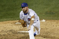 Chicago Cubs relief pitcher Kyle Ryan delivers during the ninth inning of a baseball game against the Kansas City Royals Tuesday, Aug. 4, 2020, in Chicago. The Cubs won 5-4. (AP Photo/Charles Rex Arbogast)
