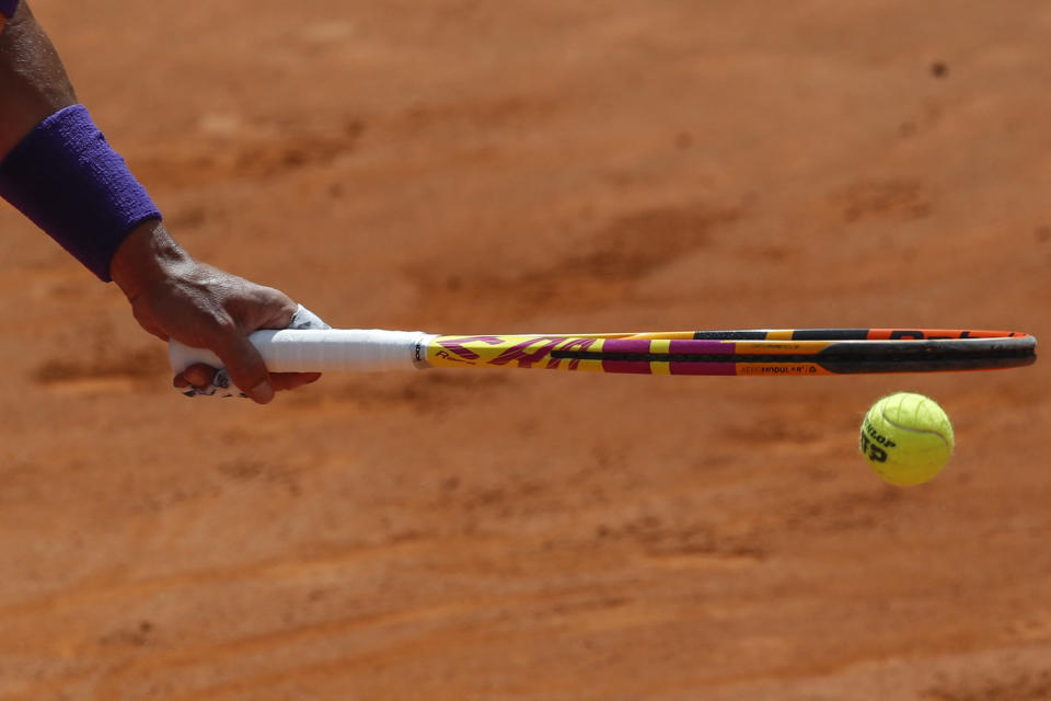 Spain's Rafael Nadal prepares to serve the ball to Canada's Denis Shapovalov during their 3rd round match at the Italian Open tennis tournament, in Rome, Thursday, May 13, 2021. (AP Photo/Alessandra Tarantino)