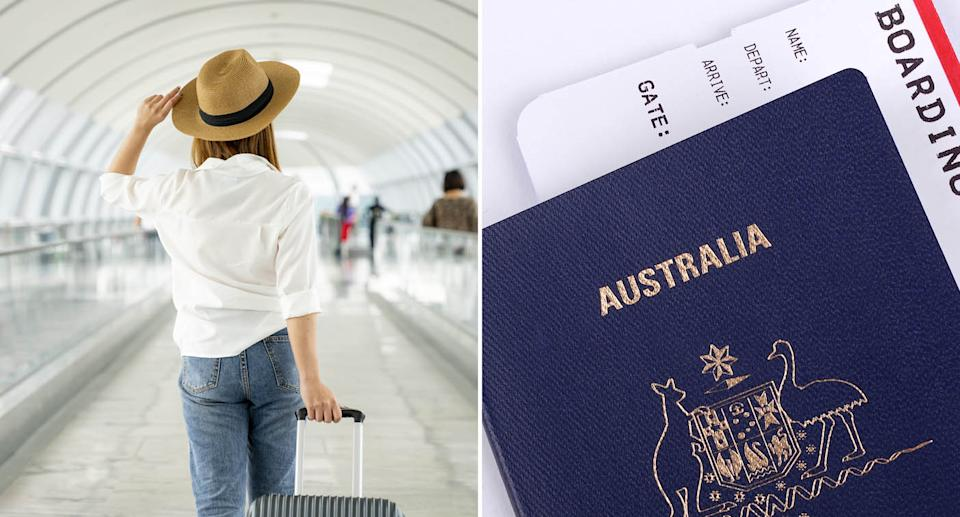 (left) stock image of a woman walking to an airport terminal (right) stock image of an Australian passport with a boarding pass inside