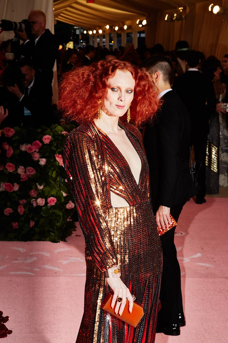 Karen Elson on the red carpet at the Met Gala in New York City on Monday, May 6th, 2019. Photograph by Amy Lombard for W Magazine.