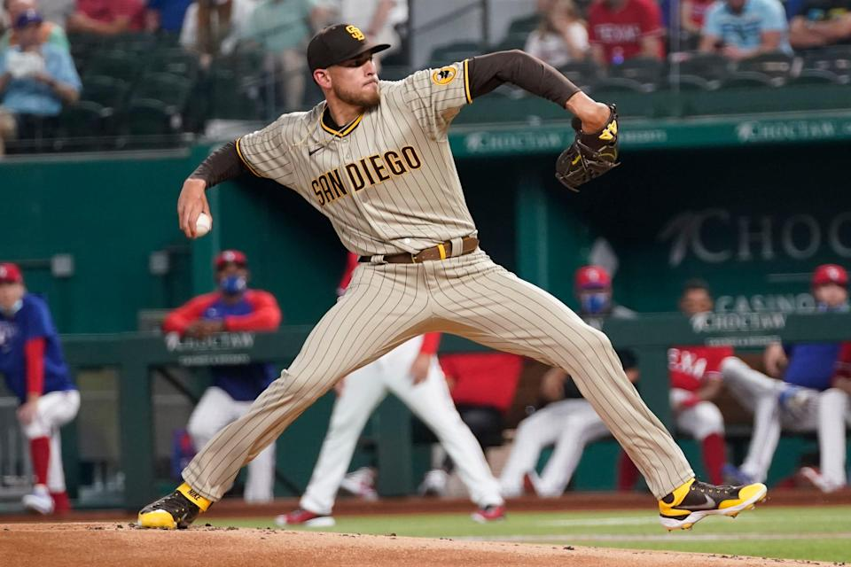 San Diego Padres starting pitcher Joe Musgrove threw the first no-hitter in team history Friday night in the game against the Texas Rangers.