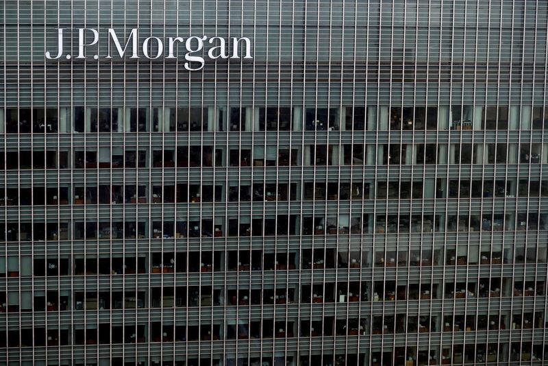 FILE PHOTO: A J.P. Morgan building is seen at Canary Wharf in London