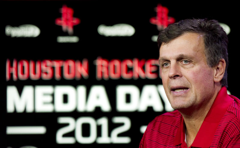 Houston Rockets head coach Kevin McHale answers questions during their NBA basketball media day, Monday, Oct. 1, 2012, in Houston. (AP Photo/Houston Chronicle, Brett Coomer)  MANDATORY CREDIT