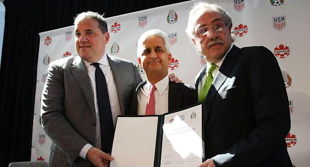 Victor Montagliani, Sunil Gulati and Decio De Maria could be celebrating this week. (Getty Images)