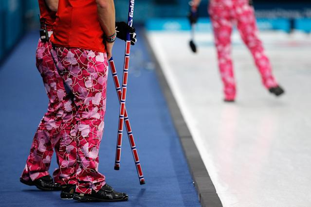 <p>A detailed view of the trousers or pants worn by Christoffer Svae, Torger Nergard, Thomas Ulsrud and Havard Vad Petersson of Norway as they compete in the Curling Men's Round Robin Session 1 held at Gangneung Curling Centre on February 14, 2018 in Gangneung, South Korea. (Photo by Dean Mouhtaropoulos/Getty Images) </p>