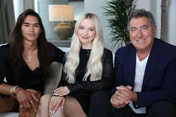 PHOTO: Booboo Stewart (left), Dove Cameron (middle) and Kenny Ortega (right) discuss the making of the Disney Channel Original Movie 'The Descendants 3' in an interview with ABC News. (Robert Zepeda/ABC News)