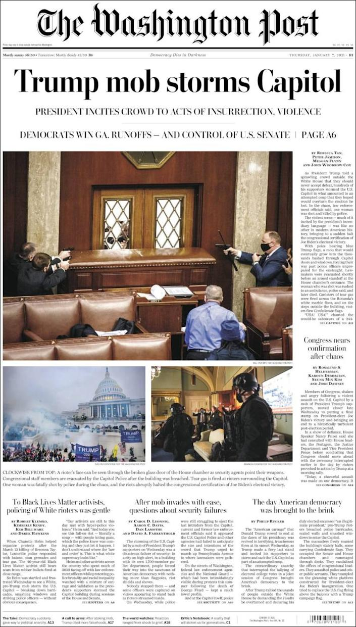 Front page of the Washington Post on Thursday