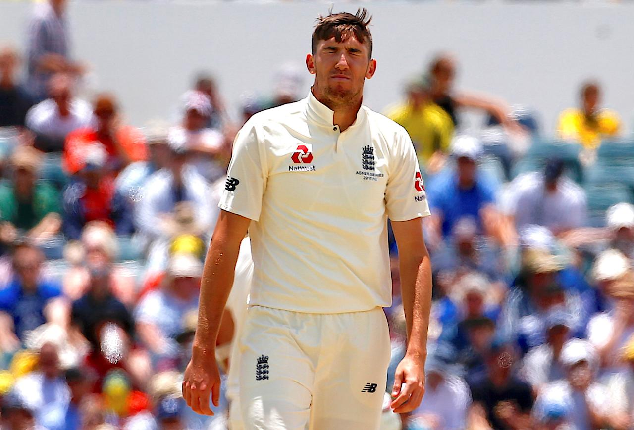 Cricket - Ashes test match - Australia v England - WACA Ground, Perth, Australia, December 17, 2017. England's Craig Overton reacts after bowling a delivery during the fourth day of the third Ashes cricket test match.    REUTERS/David Gray