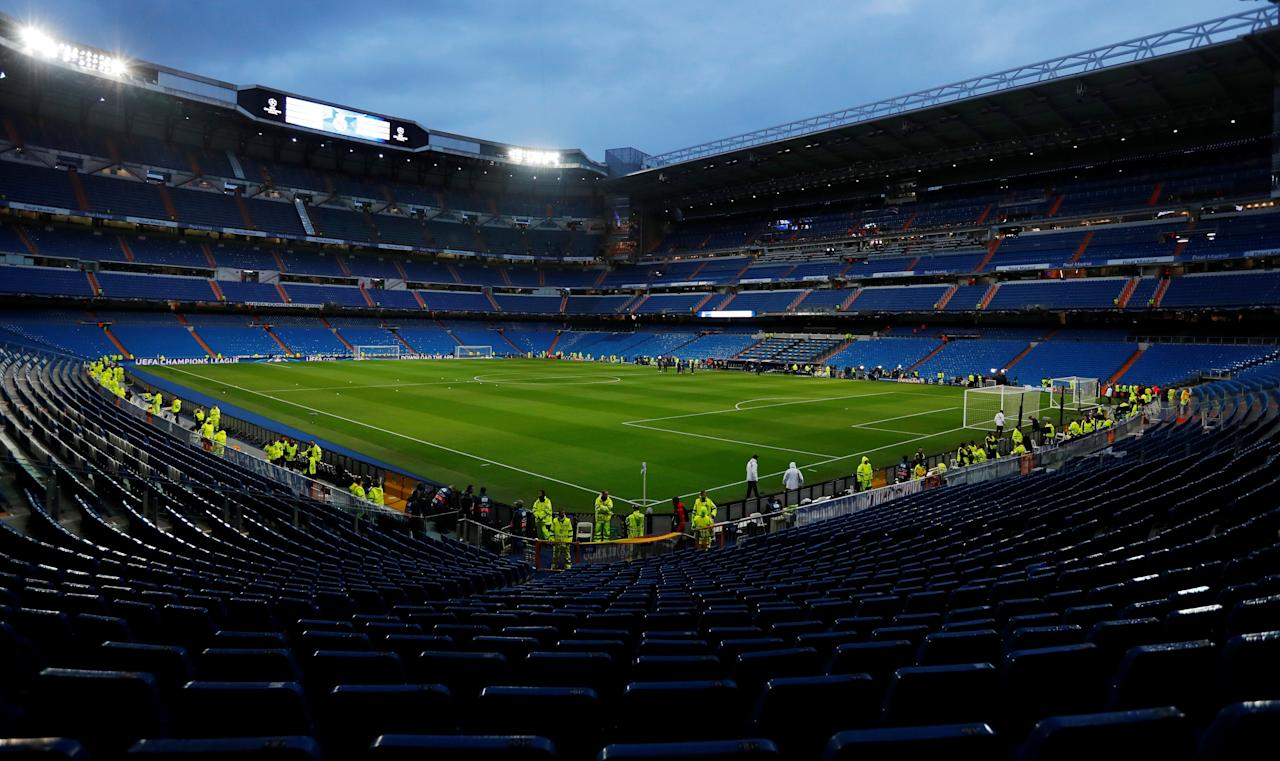 Soccer Football - Champions League - Real Madrid vs Tottenham Hotspur - Santiago Bernabeu Stadium, Madrid, Spain - October 17, 2017   General view of the stadium before the match    Action Images via Reuters/Andrew Couldridge