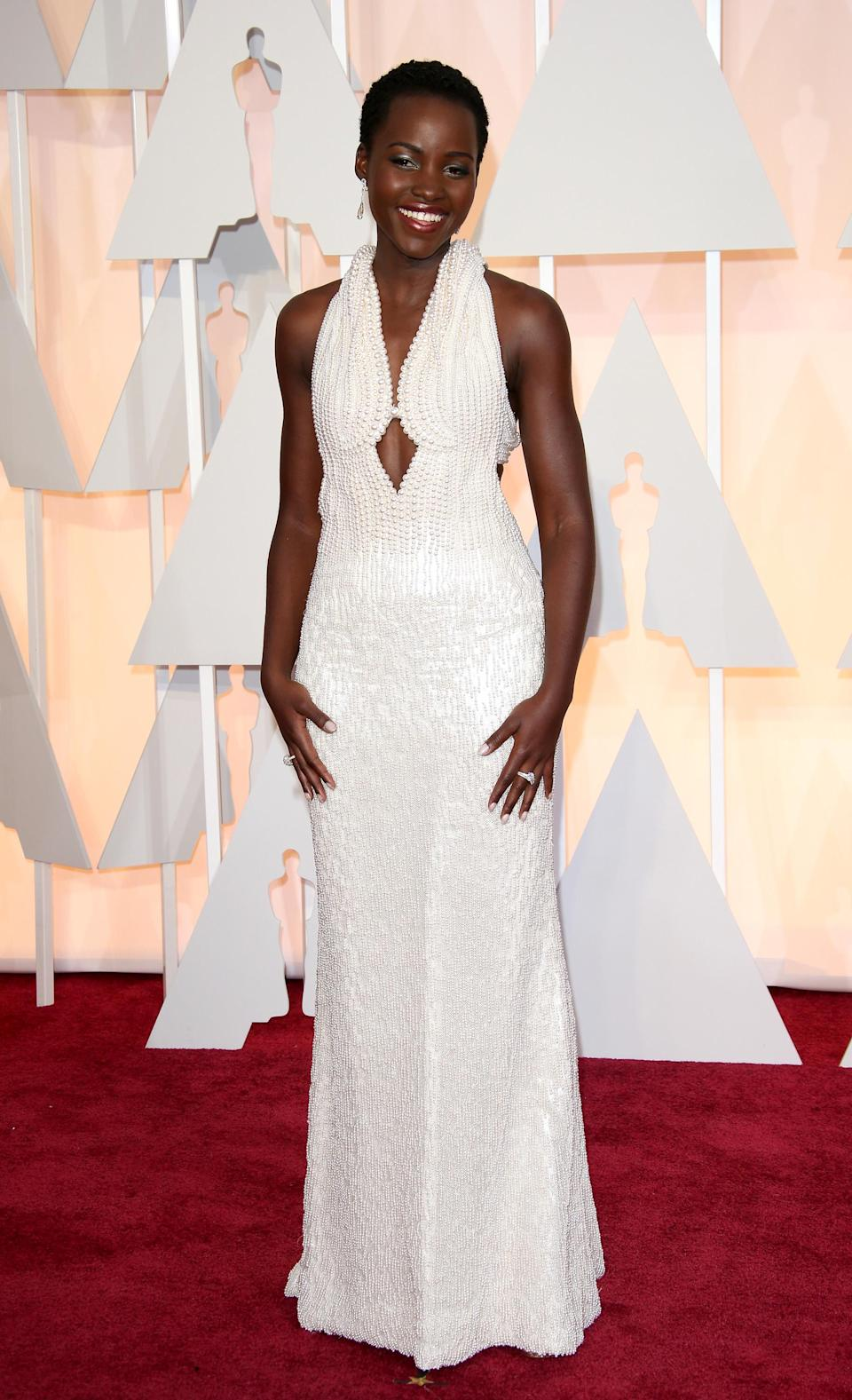 Lupita's pearly Prada gown deserved an awards of its own at the 2015 Oscars. A light-blue, plunge neck affair, it featured a halter neck and a dramatic back – along with 6,000 pearls. Wow.