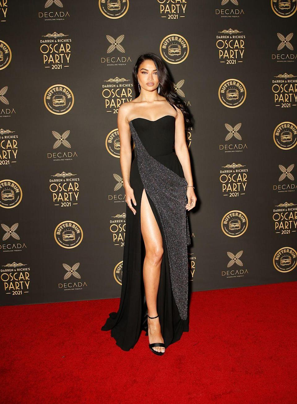 <p>The model wore a black off-the-shoulder gown by Ulyana Sergeenko to the after party.</p>