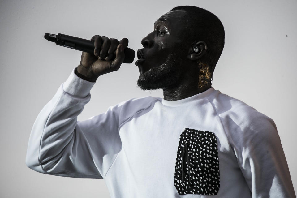 Grime artist Stormzy performs on the main stage as part of the V Festival at Hylands Parks, Chelmsford, Sunday, Aug 20, 2017. (Photo by Joel Ryan/Invision/AP)