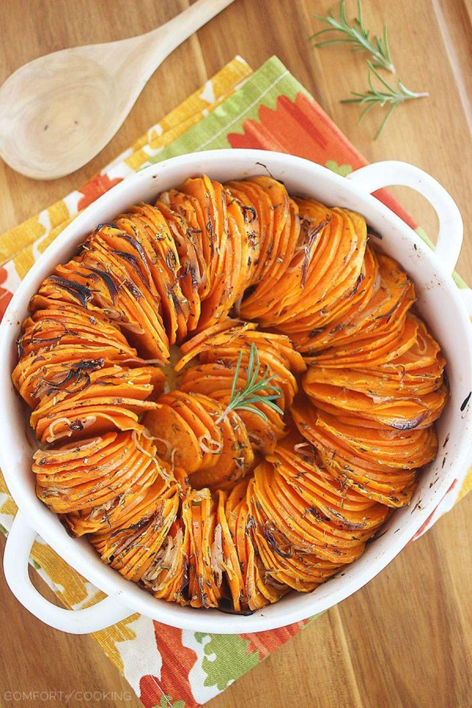 """<p>Butter and olive oil make these sweet potato edges nice and crispy—which, of course, means they're even tastier.</p><p><strong>Get the recipe at <a href=""""http://www.thecomfortofcooking.com/2014/12/crispy-roasted-rosemary-sweet-potatoes.html"""" rel=""""nofollow noopener"""" target=""""_blank"""" data-ylk=""""slk:The Comfort of Cooking"""" class=""""link rapid-noclick-resp"""">The Comfort of Cooking</a>.</strong></p><p><strong><a class=""""link rapid-noclick-resp"""" href=""""https://www.amazon.com/Fullstar-Mandoline-Slicer-Spiralizer-Vegetable/dp/B07QKHTM11/?tag=syn-yahoo-20&ascsubtag=%5Bartid%7C10050.g.877%5Bsrc%7Cyahoo-us"""" rel=""""nofollow noopener"""" target=""""_blank"""" data-ylk=""""slk:SHOP FOOD SLICERS"""">SHOP FOOD SLICERS</a><br></strong></p>"""