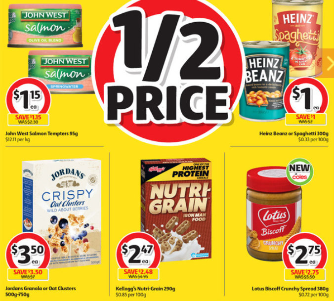 Salmon, beans, cereal and sandwich spread selling for half-price at Coles.