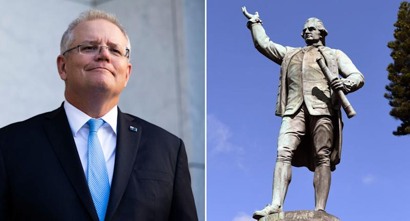 Scomo and Captain Cook statue.