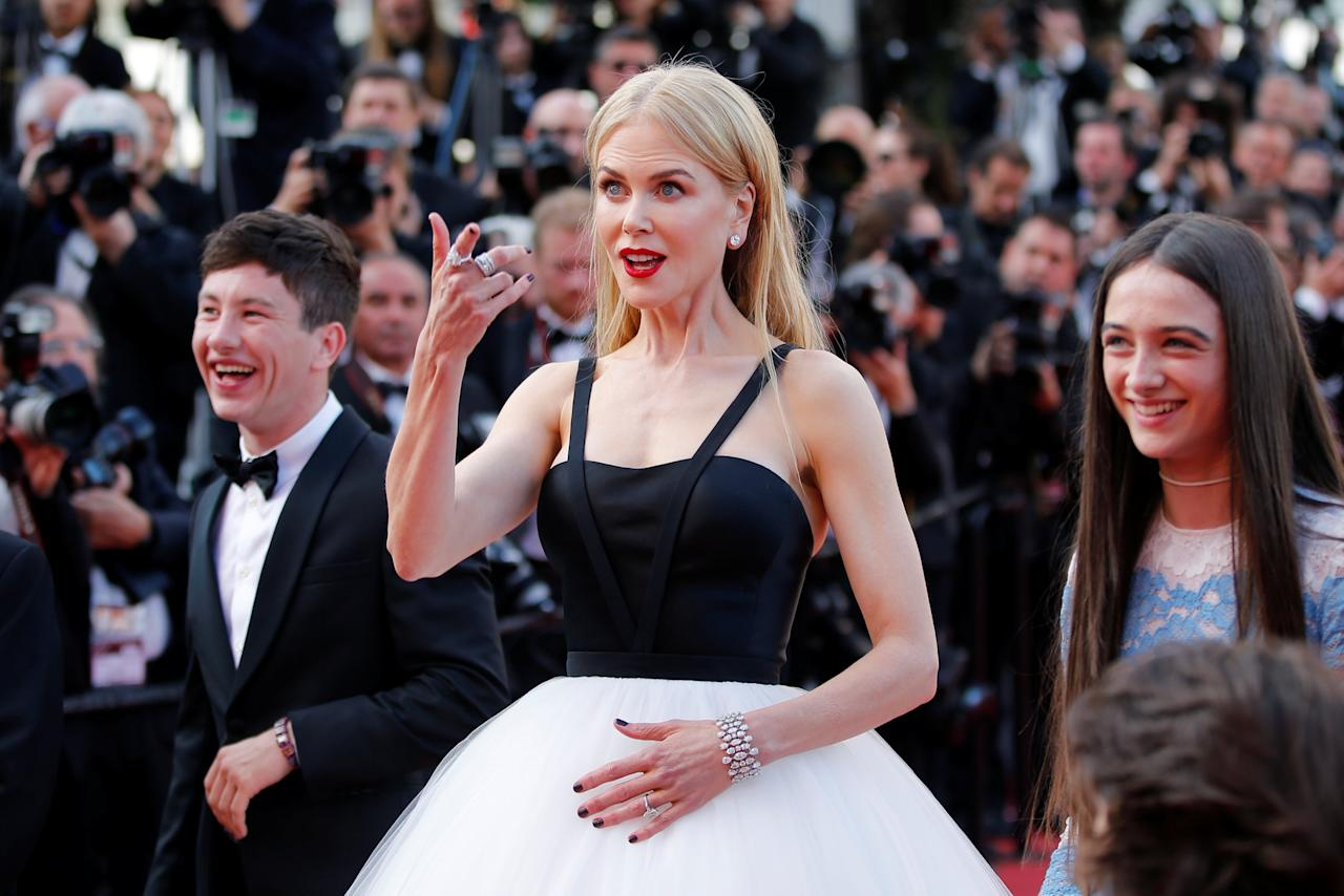 """70th Cannes Film Festival - Screening of the film """"The Killing of a Sacred Deer"""" in competition - Red Carpet Arrivals - Cannes, France. 22/05/2017. (L-R) Cast members Barry Keoghan, Nicole Kidman, Raffey Cassidy pose.    REUTERS/Stephane Mahe     TPX IMAGES OF THE DAY"""