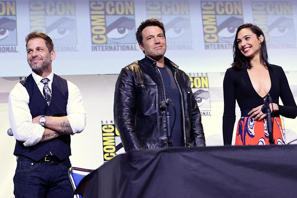 <p>Zack Snyder and actors Ben Affleck and Gal Gadot showed off an early <i>Justice League</i> reel on July 23. <i>(Photo: Albert L. Ortega/Getty Images)</i></p>