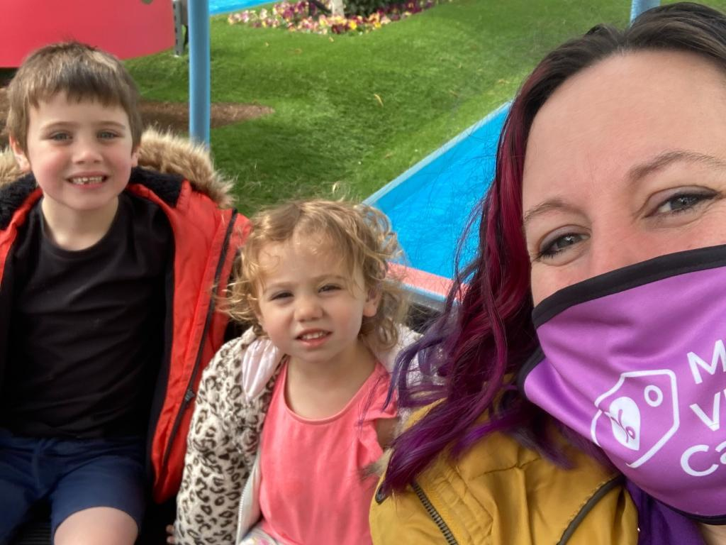 Maddy Alexander-Grout with son Ben, now five, and daughter Harriet, two. (supplied Maddy Alexander-Grout)