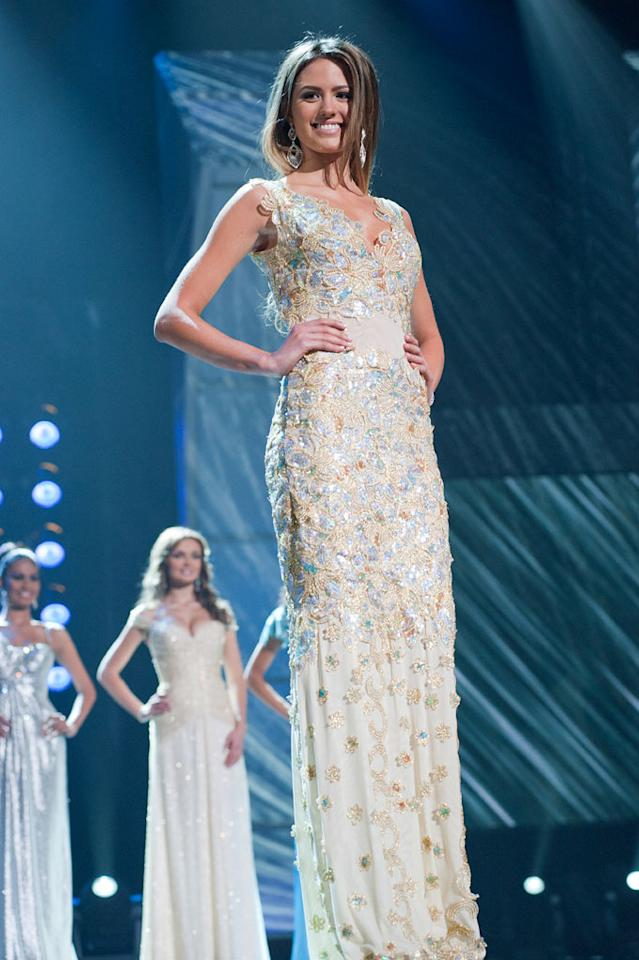 """Jesinta Campbell, Miss Australia 2010, poses for the judges during final voting at the live telecast of the <a href=""""/2010-miss-universe-pageant/show/46695"""">2010 Miss Universe</a> Pageant."""
